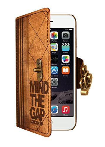 "A Little Present "", handgemacht, Vintage-Stil, mit"" Mind The Gap "","" Leder-Klappetui (mit Schloss für iPhone 6 Plus, braun"