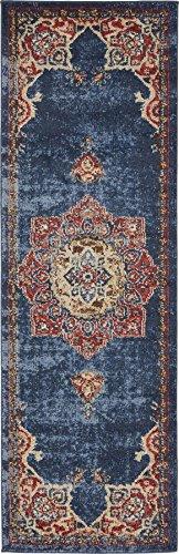 Traditional Persian Rugs Vintage Design Inspired Overdyed Fancy Dark Blue 2' x 6' FT (61cm x 185cm) Runner St. James Area Rug
