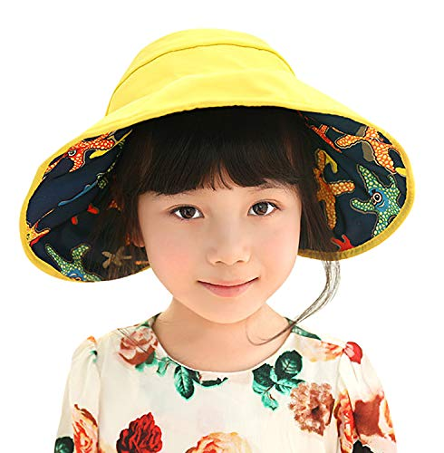 (Bienvenu Kids Girls Sun Hat Summer Beach Hat Wide Brim Adjustable Reversible Cap,Style2_Yellow)