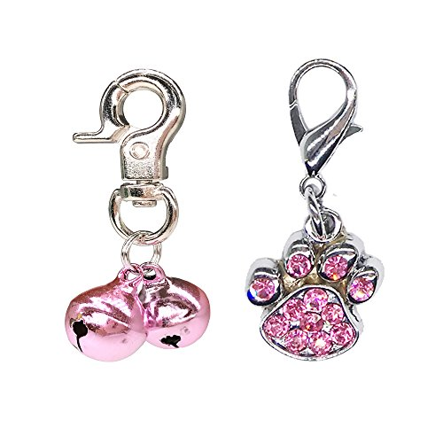 WONDERPUP 2 Sets Bell Training Charm Paw Shaped Rhinestone Jewelry Pendant Pet Cat Dog Necklace Collar Pink