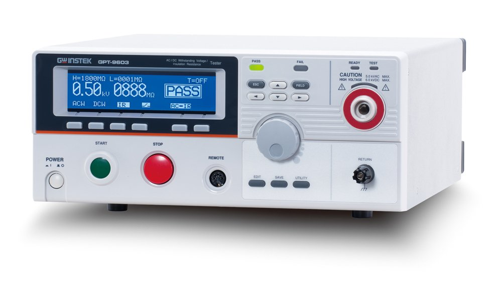 GW Instek GPT-9612 Withstanding Voltage/Insulation Resistance Tester, 100VA AC Test Capacity