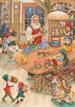Santa's Workshop Christmas Card Advent Calendar