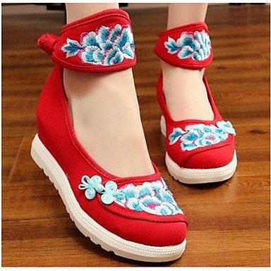 RTRY Las Mujeres'S Wedding Shoes Confort Confort Informal De Primavera De Tela Azul Negro Rubí 2A-2 3/4 Pulg. US8.5 / EU39 / UK6.5 / CN40