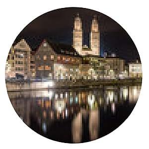 alfombrilla de ratón Zurich en la orilla del río Limmat en la noche de invierno - ronda - 20cm