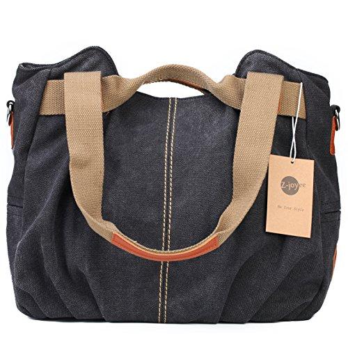 Z-joyee Womens Ladies Casual Vintage Hobo Canvas Daily Purse Top Handle Shoulder Tote Shopper Handbag