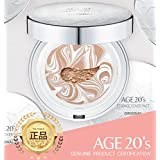 Age 20's Compact Foundation Premium Makeup, + 1 Extra Refill - White Latte Essence Cover Pact SPF50+ (Made in Korea) - White / Nude Beige (Color 21)