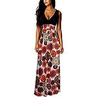 Hot Sale ! Women New Fashoin Summer A-Line Bohemian Print Dress,Ninasill Exclusive Long Evening Party Sleeveless Dress Beach Dresses (XL, Red)