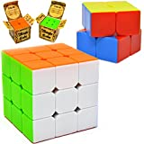 JOYIN Speed Cube 2 Pack Magic Rubix Cube 3x3 and 2x2 Rubiks Cube