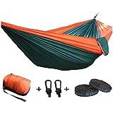 "Efaithtek Portable Double Camping Hammock ,Parachute Nylon Hammock With Hammock Tree Straps for Backpacking, Travel, Beach, Yard .118""(L) x 78""(W)"