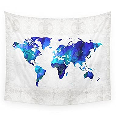 Society6 World Map 17 - Blue Art By Sharon Cummings Wall Tapestry Small: 51  x 60