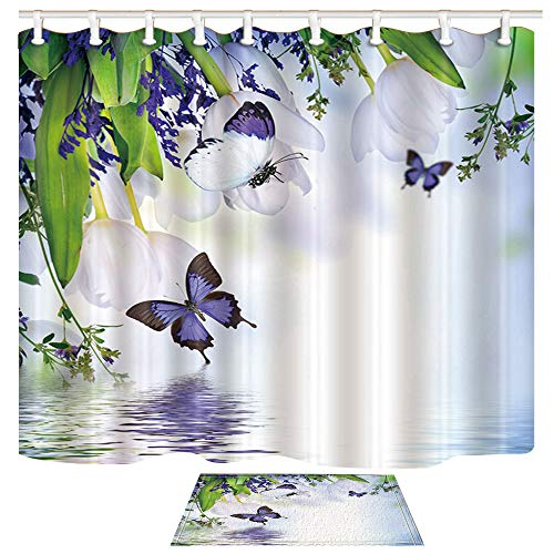 ChuaMi Floral Shower Curtain Set, White Tulip, Green Leaves and Purple Butterflies on The Water, Bathroom Fabric 70 x 82 Inches Decor with 12 Hooks and Anti-Slip 40 x 60cm Bath Rug
