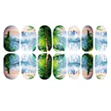 YESURPRISE 1pack 3D Beautiful Landscape Nail Art Tips Pack Decal Wrap Water Tattoo Noctilucent Transfer Stickers DIY Decoration #9