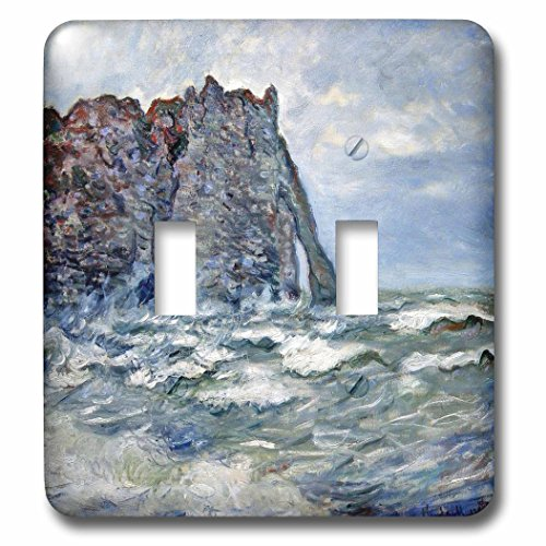 1883 Rough (3dRose lsp_179239_2 Port D Aval, Rough Sea, Claude Monet Painting 1883, Pd-Us Light Switch Cover)