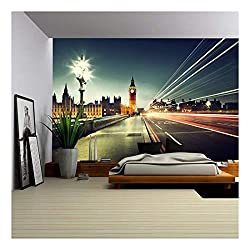 wall26 - Big Ben from Westminster Bridge, London - Removable Wall Mural | Self-Adhesive Large Wallpaper - 100x144 inches