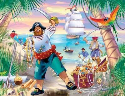 Pirate Adventure + Papo Pirate Jigsaw Puzzle 35pc ()