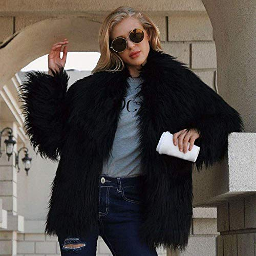 Damas Beige Sintética Chaqueta Parka 3xl Para Invierno Cálido Piel Tamaño Abrigo Negro Mujer Zhrui color Solapa Grande De Ropa Sólido daRqd
