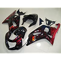 Black w/ Red Flame Complete Injection Fairing for 2001-2003 Suzuki GSXR 600 750