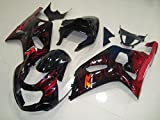 Black w/Red Flame Complete Injection Fairing for 2001-2003 Suzuki GSXR 600 750 2002