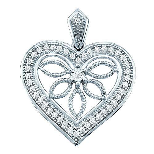 (Jewels By Lux 10kt White Gold Womens Round Diamond Vintage-style Heart Outline Pendant 1/10 Cttw In Pave Setting (I2-I3 clarity; H-I color))