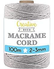 Creative Deco 100 m Licht-Grijs Macrame Koord Katoenen Koord | 2-3 mm (+-0.5 mm) Dikte 15-laags Koord | 328 Voeten | Grote Touwrol Natuurlijke Dikke | Perfect Beeld Hangende Draad