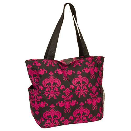 Women's Black & Pink Floral Damask Scroll Print Beach Shopper Tote Bag (Floral Shopper)
