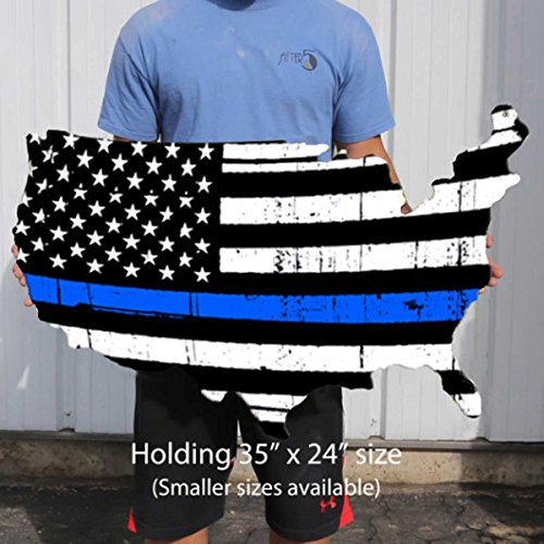 (Thin Blue Line Flag Plasma Cut Aluminum USA Sign Policeman Police Officer Support Vintage Decor Garage Wall Art Custom Metal Sign Business Art Police Officer Retirement Gift (24