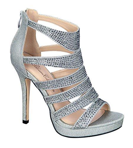 De Blossom Collection Womens Sparkle Rhinestone Cut Out Dress Sandal Pewter dlbTuGPHQJ