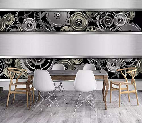 Mural Custom Size 3D Mural Wallpaper European and American Industrial Wind Metal Living Room Tv Backdrop Photo Wall Paper Art Mural,60Cm (H) X 80Cm (W)