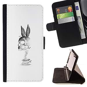 Momo Phone Case / Flip Funda de Cuero Case Cover - Conejo Cráneo Muerte Divertido Negro Blanco - Samsung Galaxy E5 E500