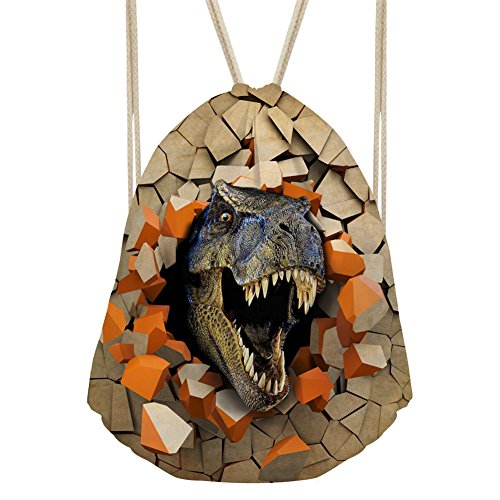 Showudesigns Cool Zoo Dinosaur Drawstring String Sack Bag for Children Holiday Gift ()