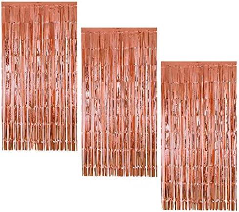 3 Pezzi Tende a Frange Oro Rosa Tenda Lamina Frangia Foil Curtain Backdrop per Le Decorazioni Feste