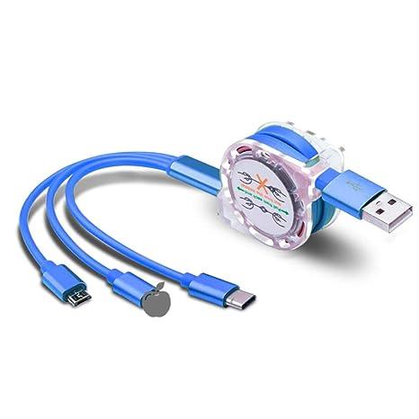 SparY Cable Cargador 3 en 1, Carga rápida para iPhone, Android, Accesorios de Larga Vida, USB Tipo C para el hogar, Oficina, teléfono móvil, ...