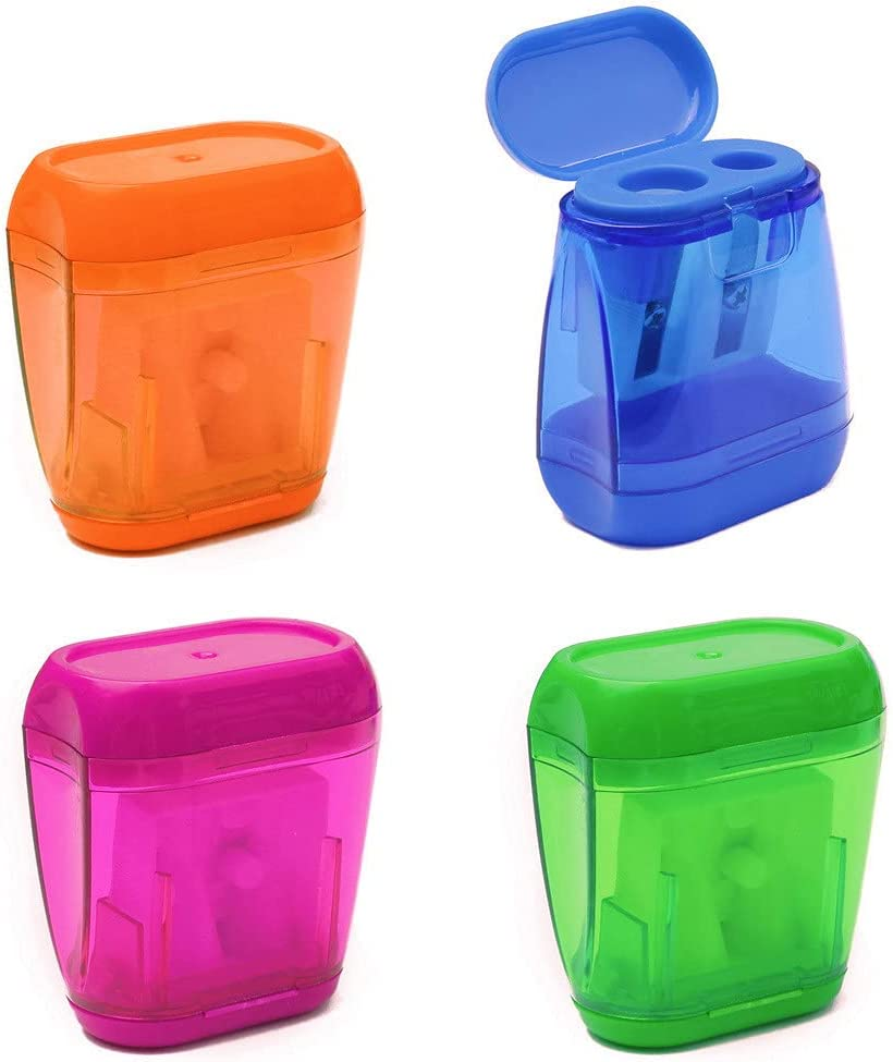 4 pcs Pencil Sharpener, Dual Holes Sharpener with Lid for Kids Colored Plastic Manual Pencil Sharpeners for Office Home Supply : Office Products