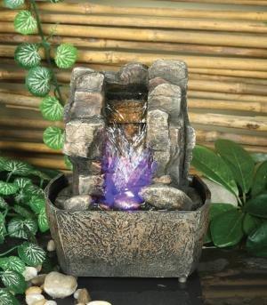 Mini wasserfall garten  Mini-Wasserfall mit Beleuchtung: Amazon.de: Garten