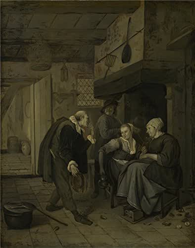 Perfect Effect Canvas ,the Replica Art DecorativePrints On Canvas Of Oil Painting 'After Jan Steen An Itinerant Musician Saluting Two Women In A Kitchen ', 20 X 25 Inch / 51 X 65 Cm Is Best For Garage Decor And Home Decoration And Gifts