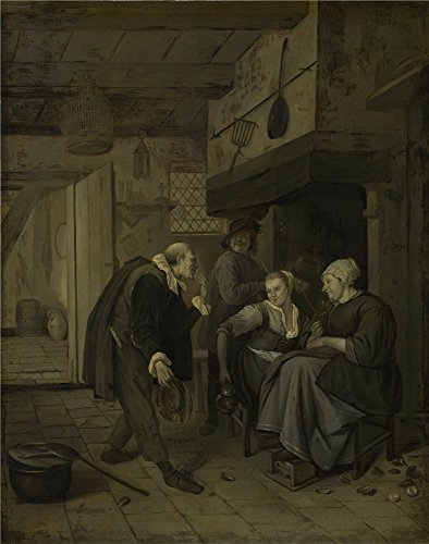 High Quality Polyster Canvas ,the Replica Art DecorativePrints On Canvas Of Oil Painting 'After Jan Steen An Itinerant Musician Saluting Two Women In A Kitchen ', 12 X 15 Inch / 30 X 39 Cm Is Best For Kitchen Decor And Home Artwork And Gifts