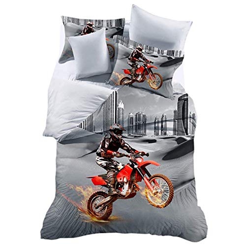 PICTURESQUE Twin Bed Sets for Boys Dirt Bike Motocross Bedding Duvet Cover Quilt Cover(Twin)