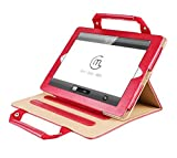 iPad Pro 10.5 Case Sleeve,TechCode Luxury Portable Business Style Handbag Slim PU Leather with Handle Pocket Stand Carrying Case for iPad Pro 10.5 inch(Red)