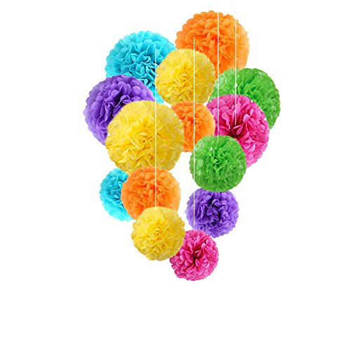 Fadesun 36 Pcs 12 Inch, 10 Inch, 8 Inch Assorted Rainbow Colors Tissue Paper Pom Poms Flower Balls for Birthday Wedding Party Baby Shower Mother's Day -