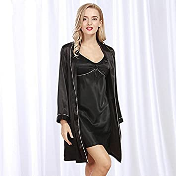 Wanyne -Dressing Gowns with Strap Dress Women Bathrobe Nightgown ...
