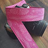 Woodland in Pink- Pinecones, Feathers, Leaves, Sticks - dSLR Camera Strap