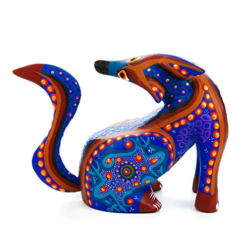 BEAUTIFUL BLUE COYOTE Oaxacan Alebrije Wood Carving Mexican Folk Art Animal Sculpture Painting Wood Carved Folk Art