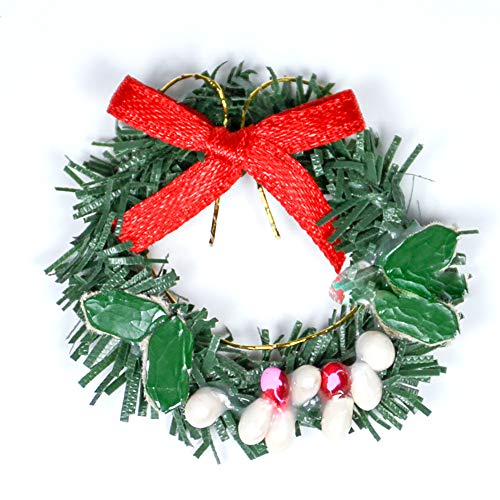 Odoria 1:12 Miniature Christmas Green Wreath with Red Bow Dollhouse Decoration Accessories