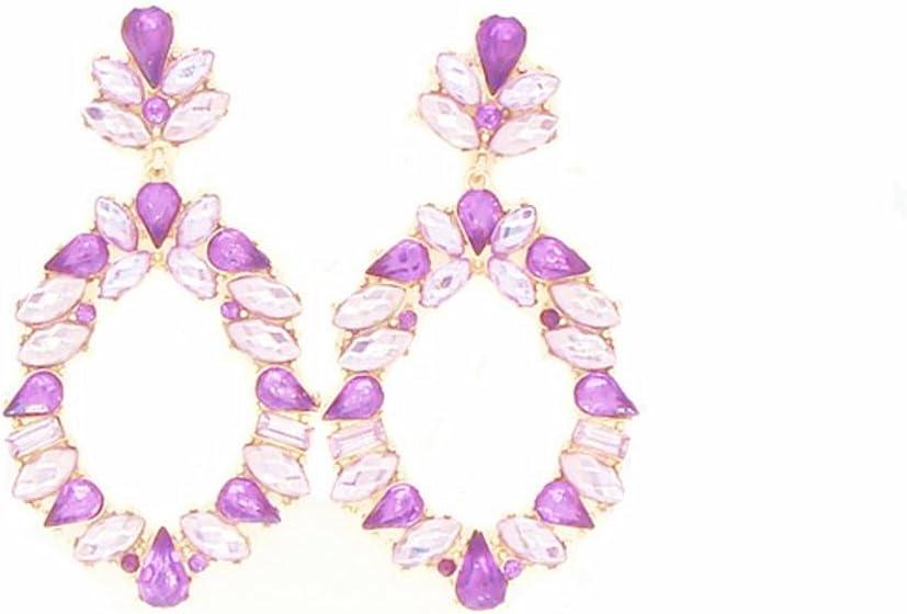 JunBo Clavos del Oído de Color acrílico Cristal de Diamante Piedras Preciosas Artificiales Pendientes geométricos Multicolor de la Señora de la Manera