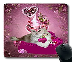 """Cat In Valentine Candy Hat Custom Rectangle Mouse Pad Oblong Gaming Mousepad in 220mm*180mm*3mm (9""""*7"""") -922055 by ruishername"""