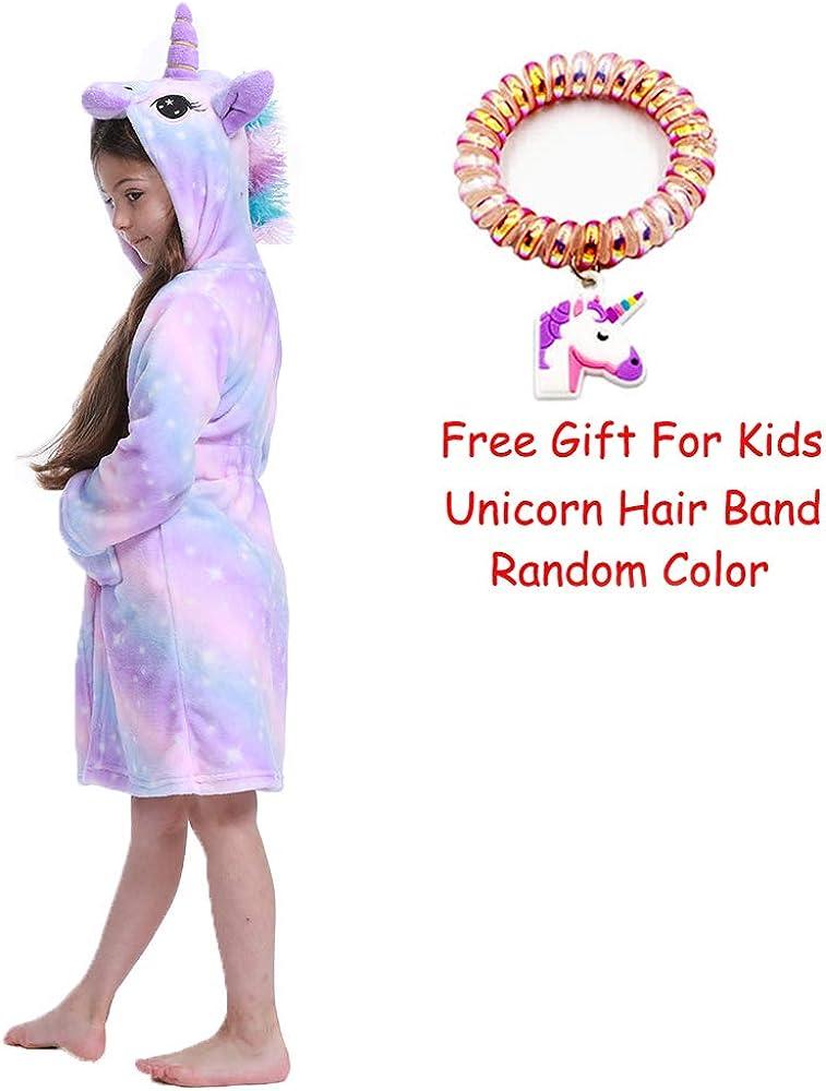 LANTOP Kid Soft Bathrobe Comfy Unicorn Flannel Robe Hooded All Seasons Gift