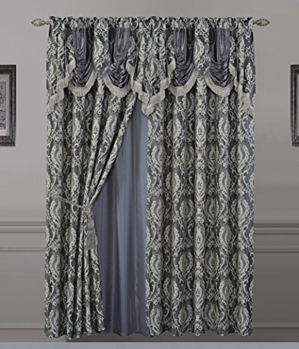 All American Collection New 2 Panel Jaquard-Like Polyester Curtain with Attached Valance and Sheer Backing (110″ x 63″, Review