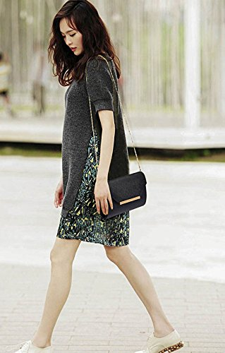 ANNA GRACE - Cartera de mano de piel sintética para mujer Design 1 - Black