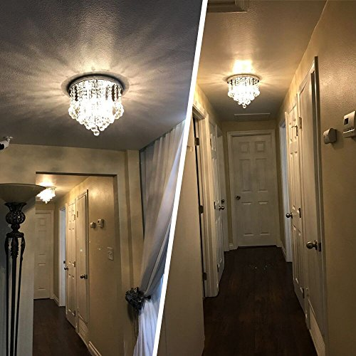 ... Modern Chandeliers Crystal Ball Light Fixture, 3 Lights, Flush Mount Ceiling  Light 11.8 Inches Diameter For Hallway, Bedroom, Living Room, Kitchen, ...