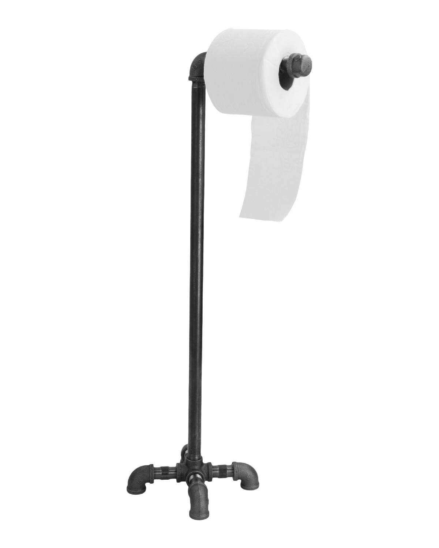 PIPE DÉCOR Freestanding Industrial Toilet Paper Holder, Rustic Farmhouse Bathroom, Iron Metal Grey Vintage Toilet… 3
